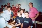 Жюри (А.А. Берс, А.Г. Марчук, Т.И. Тихонова) принимает отчет мастерской криптографии (мастер А. Зарубин)