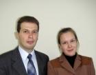 Елена Валерьевна Окунишникова и В.Е.Козюра после защиты диссертации