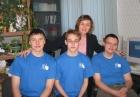 Слева направо: А. Блинов, В. Токарев, С. Дятлов, второй ряд Т.Г. Чурина, тренер команды